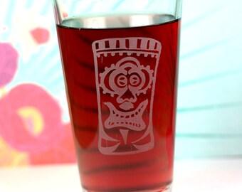 Happy Ape Tiki Etched Sandblasted Pint Glass, tiki gift, holiday gift, gift under 20