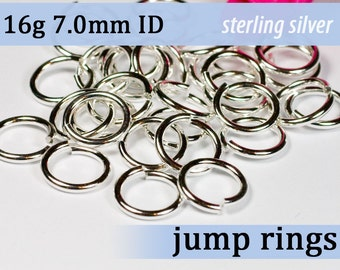 16g 7.0mm ID sterling silver jump rings -- 16g7.00 jumprings 925 links