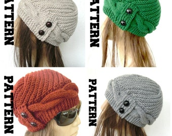 Digital Winter Hat Knitting PATTERN PDF  - Instant Download Knit hat pattern-- DIY for Her Cable Knit hat  Pattern - Cloche Hat Knit Pattern