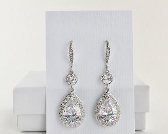 Bridal Cubic Zirconia Earrings Wedding Crystal Earrings Bridal Crystal Teardrop Earrings Crystal Long Drop Earrings Bridal Crystal Earrings