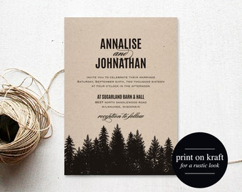 Rustic Wedding Invitation Printable, Wedding Invitation Template, Wedding Invite, Wedding Printable, PDF Instant Download #BPB180_1