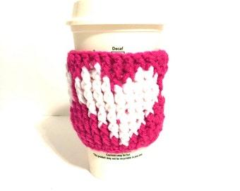Pink love cup cozy, pink heart cup cozy,  pink love cup sleeve, pink cup holder, pink love cozy, heart coffee cozy, reusable heart cozy,