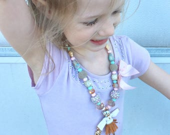 Fashion girl. Kids jewelry. Pink. Mint. Gold. Gift for girls. Bubblegum bead necklace. Birthday party. One of a kind. Sun. Bohemian. Doll.