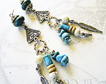 Boho, dangle turquoise, beige, silver feather earrings
