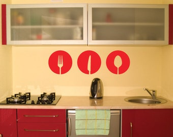 Kitchen Wall Art Decal/Wall Sticker - Knife, Fork, Spoon Vinyl Decor, Modern Shapes - 14 Colour Options Christmas Gift