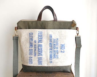 Military canvas, vtg bank carryall tote, laptop bag - Federal Reserve Cleveland Ohio - eco vintage fabrics