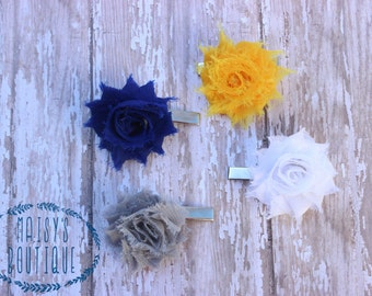 Hair Clip Set of 4- Mini Mustard Yellow, Navy, White and Gray Flower Clips/ Hair Clips/ Photo Prop