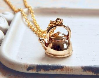 Neva - gold teapot necklace - tea pot charm - tea kettle - miniature teapot