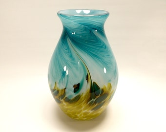 Hand Blown Art Glass Vase in Bright Teal Blue and Olive Green, Handmade glass, Made to order