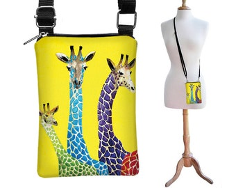 SALE Clara Nilles Giraffe iPhone Case Cell Phone Sling Case Cross Body Cell Phone Bag yellow blue purple green RTS