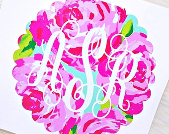 Scallop Border Layered Monogram Decal - Lilly Pulitzer Inspired
