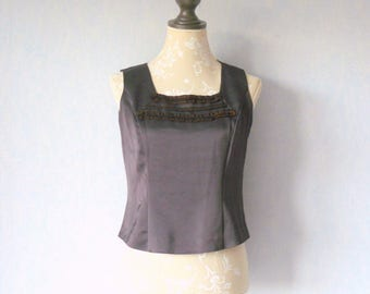 Tank top Camisole recycled, square, fitted, Camisole neckline tank lace Ribbon, chocolate brown Satin, women size 40, recycling, romantic