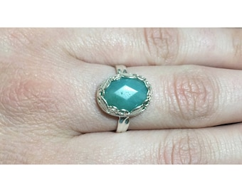 Faceted Amazonite and 925 Sterling Silver Botanical Ring   Size 8