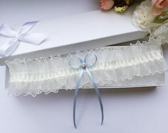 Ivory lace wedding garter, blue wedding garter, rhinestone garter, blue bridal garter, something blue garter, crystal garter, frilly garter