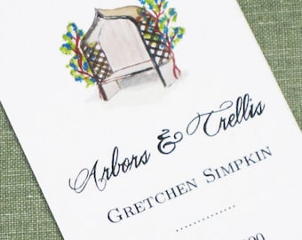 Personalized Business Card with Garden Arbor- Set of 50