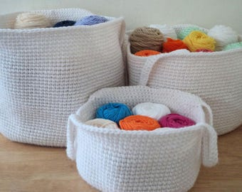 3 Simple Baskets,Crochet Pattern,Instant Download