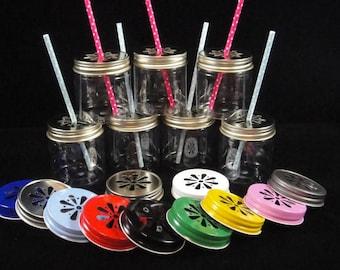 EIGHTEEN Mason Jars, Plastic Mason Jars with lids, Kids Party Cups, Daisy Cut Lids, Weddings, Farm Party, Zoo Party, New Baby - 8 ounce jars