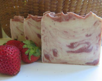 Strawberry Cream Soap, All Natural Soap, Handmade Soap, Bath Soap, Cold process Soap, Homemade Soap, Artisan Soap, Gifts For Her
