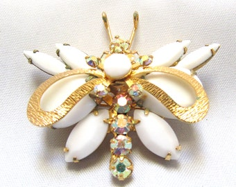 Juliana White Rhinestone Brooch Delizza & Elster D and E Butterfly Pin