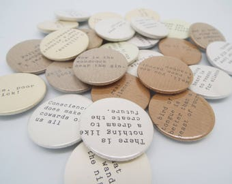 Special Offer- Set of Four Shakespeare Quote Literature Pin Badges
