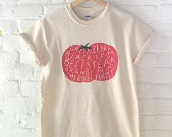 Tomato T-Shirt, Food Shirt, Garden Shirt, Vegetable Shirt, Screen Printed T Shirt, Vegetable Print