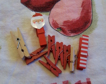 variety of tiny wooden clothespins