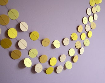 Yellow garland, Yellow circles garland, Wedding garland,  Yellow Baby shower, First birthday party, KC-1043