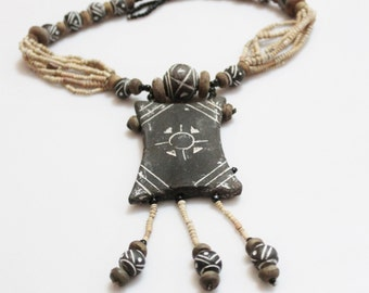 Vintage African Clay Necklace, Tribal Pendant Necklace, Ethnic Jewelry