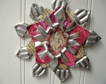 Tart Tin ornament upcycled vintage handmade altered art Folk art Pink Regency Jane  Star Snowflake Flower