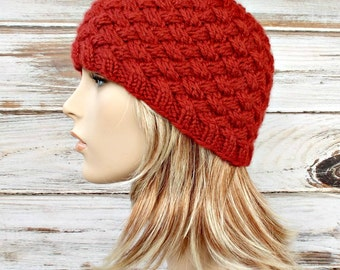 Instant Download Knitting Pattern - Knit Hat Knitting Pattern - Knit Hat Pattern for Harlow Basket Weave Beanie Womens Hat