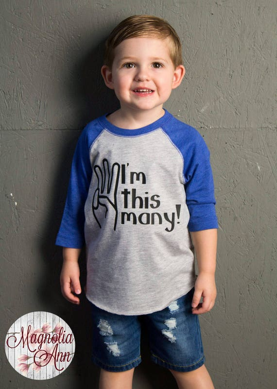 I'm This Many, 3 Years Old, 3rd Birthday, Toddler Baseball Raglan T-shirt in 6 Colors in Sizes 2T-5/6