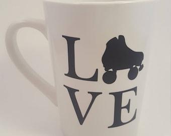 L (skate) V E mug, Roller Derby mug