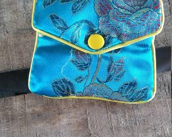 Blue Asian fabric coin purse
