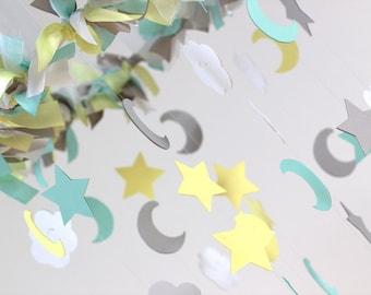 Star, Moon, Cloud Nursery Mobile- Yellow, Aqua, Gray & White- Neutral Nursery Decor, Baby Shower Gift, Baby Mobile