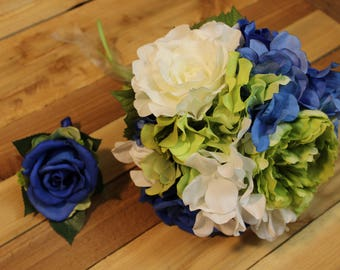 Blue and Green Bouquet, Seahawks Bouquet, Sounders Bouquet, Seattle Seahawks, Seattle Sounders, Seattle Seahawks Bouquet, Bridal Bouquet