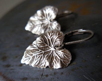 Silver leaf earrings, nature, harvest, autumn, leaf earrings, sophisticated, chic, gift for her, under 20, new cottage woodland shabby boho