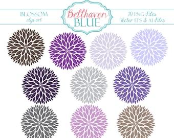 Purple Blossom Clip Art
