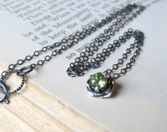 Flower Necklace in Sterling Silver with natural Green Peridot Gemstone  Flower Pendant August Birthstone