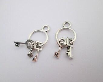 2 breloque trousseau de clefs en métal argenté 27 x 12 mm