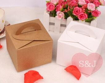10pc White/Brown Gable Kraft Cardboard cupcake/cake Bomboniere Favour Boxes