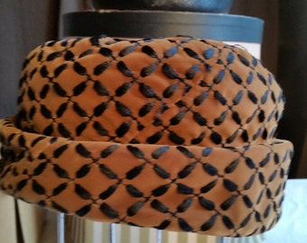 Vintage Warm Brown Cuffed Hat with Black Pattern from Fashion Guild--Distinction