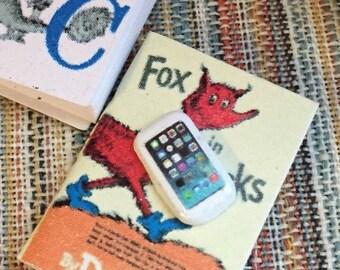 SALE Miniature Cell Phone, Dollhouse Miniature, 1:12 Scale, Mini White Phone, Dollhouse Decor Accessory, Tiny Phone