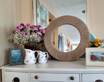 Nautical Jute Twine Mirror 22 inches with frame coastal decor rope mirror for wall or free-standing starburst design beachy mirror