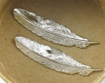 SALE As-Is 4 silver FEATHER jewelry embellishments 53mm x 14mm (ST4c)