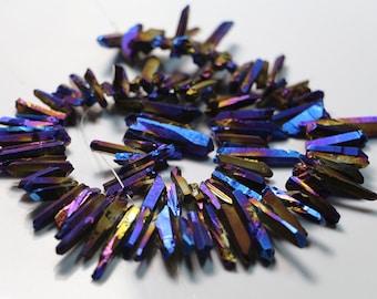 Titanium coated quartz point beads ,raw gemstone point beads,healing stone beads,loose beads full strand