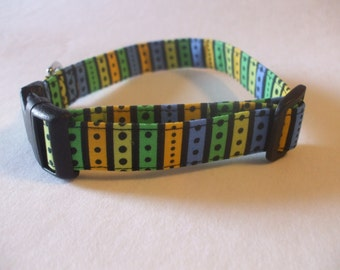 Handmade Cotton Dog Collar Aqua Blue Green Yellow Black Stripes and Dots sizes XS-M/L