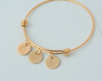 Gold Bangle Bracelet with Initials / personalized bangle bracelet / Mothers bracelet