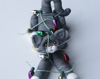 Gray Tabby Cat Christmas Ornament Polymer Clay