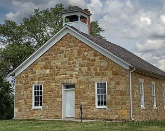 One Room Schoolhouse - 1800's - Schoolhouse - Native Stone - Kansas - Old School -1800's Schoolshouse - Fine Art Photography