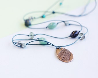 leaf necklace, long necklace, bronze pendant, green jewellery, sage pendant, calleis